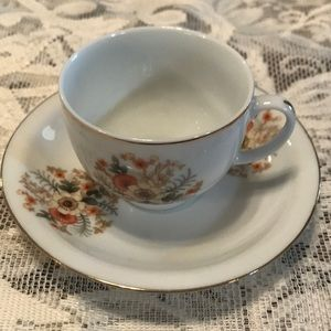 Demitasse teacup & saucer with fall colors